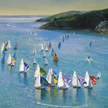 "BLANK CARD ""SAILING YACHTS/BOAT RACE"" LARGE SQUARE SIZE 6.25"" x 6.25"" BLHI 2035"